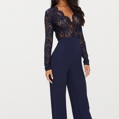 2d525836d5dd Size 8 Navy Blue jumpsuit from Pretty Little Thing. Tags on. - Depop