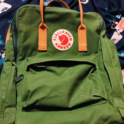 5fbaad52b10c Fjallraven backpack in Leaf Green   Burnt Orange! Used for a - Depop
