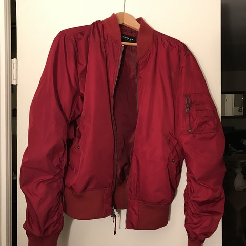 Vaak Bright red PacSun bomber jacket. Worn twice great condition - Depop #XR87