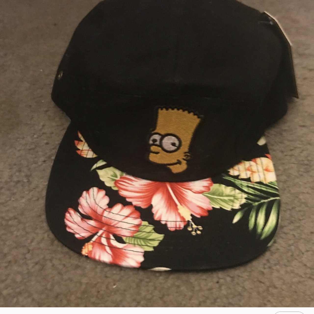 Black tropical 5 panel skater hat with Bart simpson patch - Depop fa15429dd495