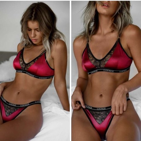 1b7bcd4f949df Lounge underwear pink lace silk bra   thong set.. brand new