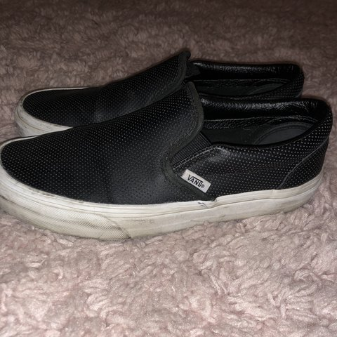 3dfce31bb582  juliagayle. 2 months ago. United States. BLACK LEATHER PERFORATED SLIP ON  VANS -women s size 8