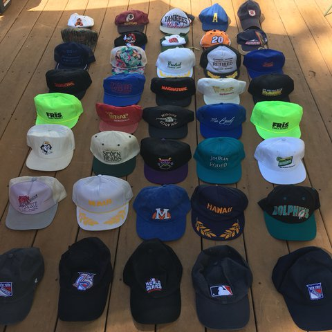 5ba6f982eee406 Vintage Hat lot including Snapback and Dad Hats. Some are or - Depop