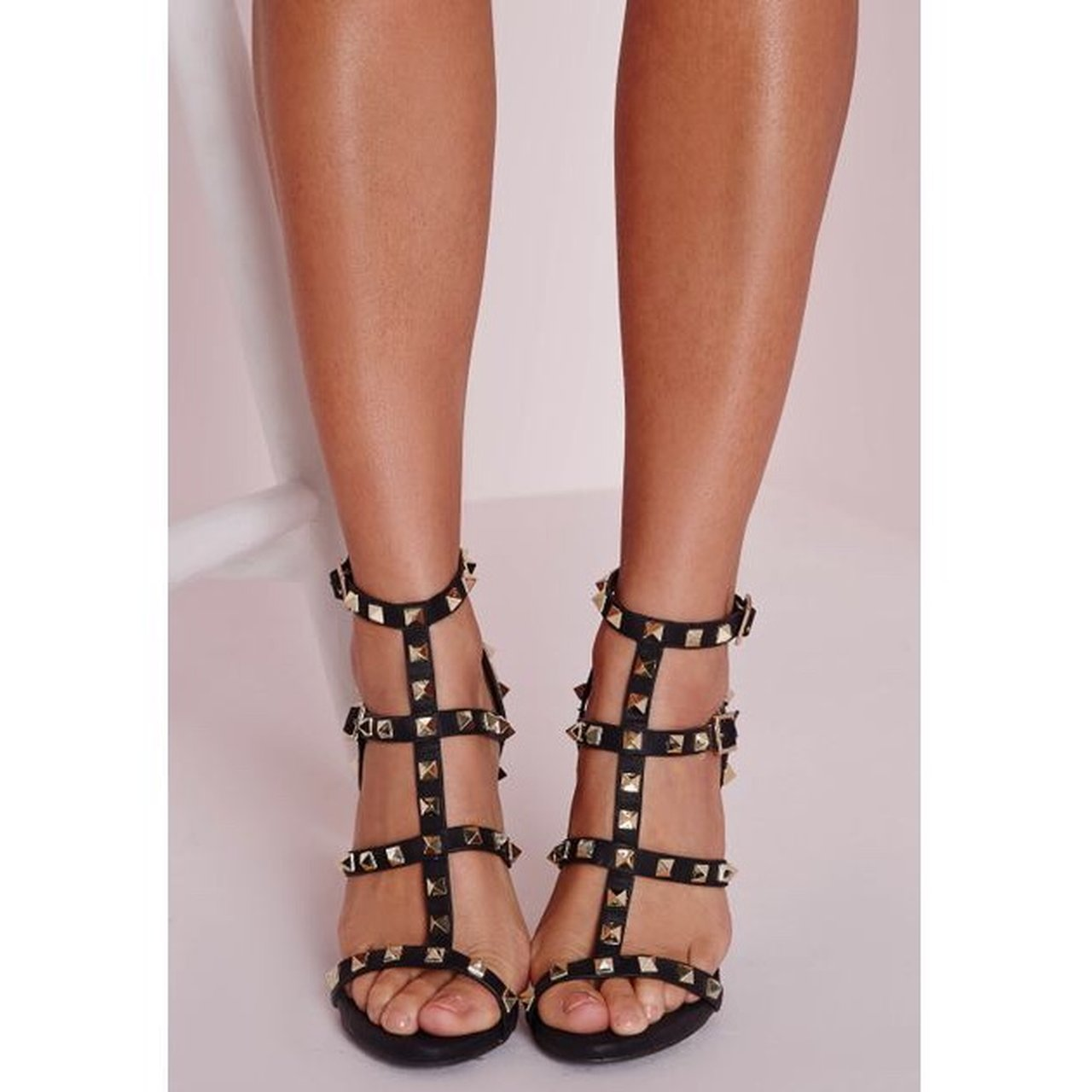 b109e914df1 DEPOP. Missguided black studded gladiator style sandal heelsSize 5Only worn  once, perfect conditionBought ...
