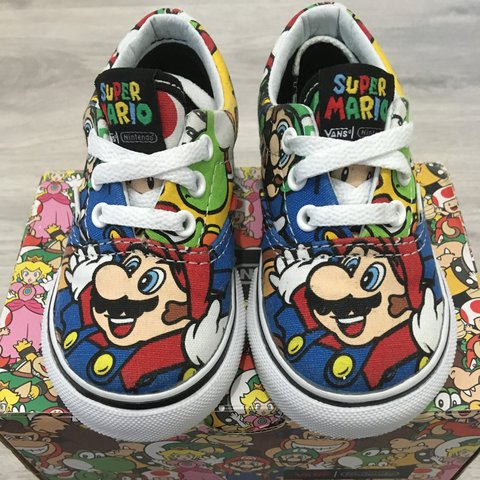 75c90b3c0f2f63 Infant kids Nintendo mario vans Limited edition UK size5 - Depop