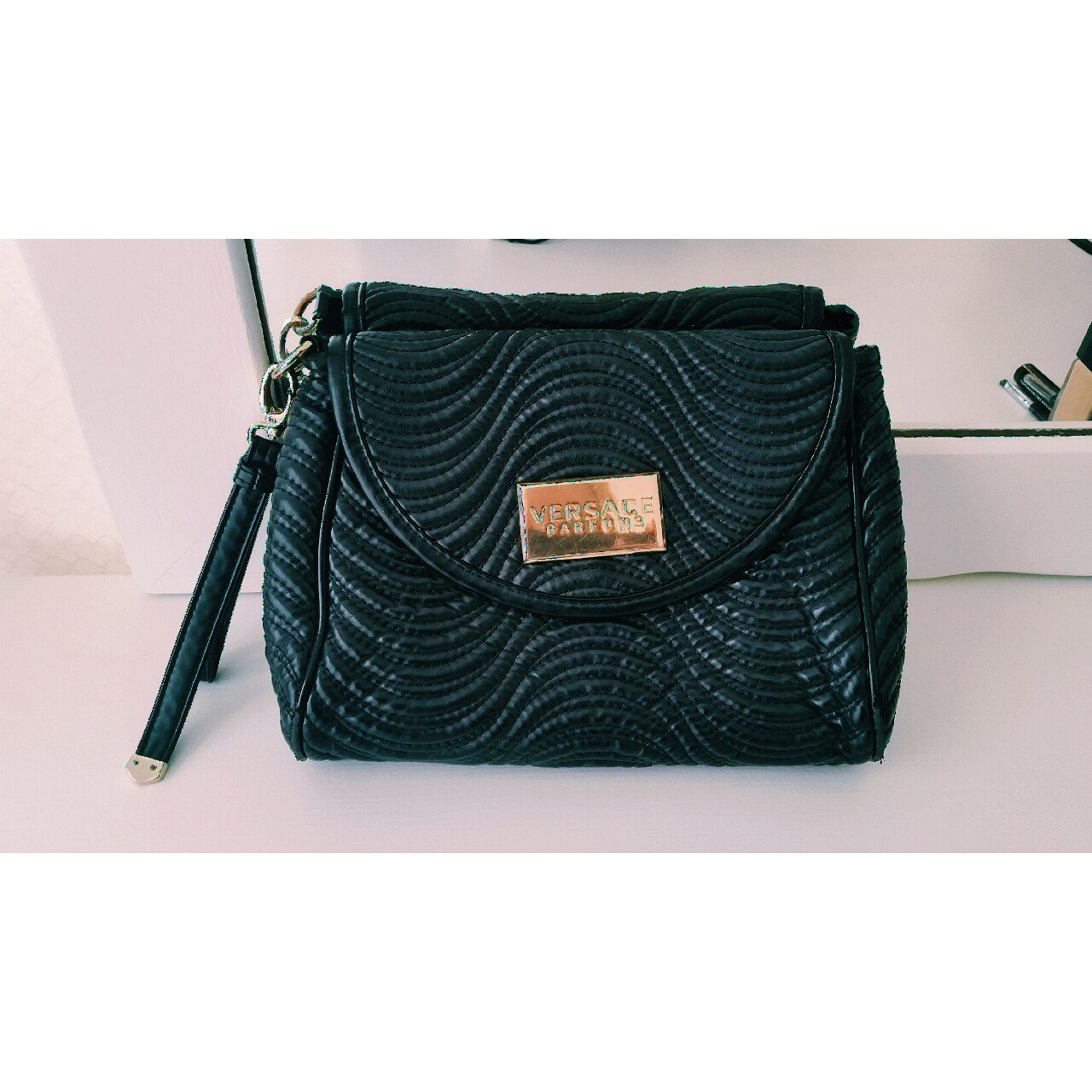 07945dfa2f Versace Parfums clutch Black with gold toned hardware Strap - Depop