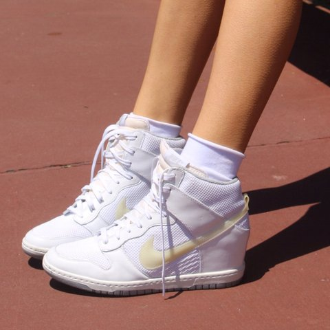 innovative design e0768 8ba5c  revivaleravintage. in 4 hours. Oceanside, United States. The Sickest White  Leather Mesh Retro looking- Nike Dunk Sky Hi Wedges - Sneakers ...