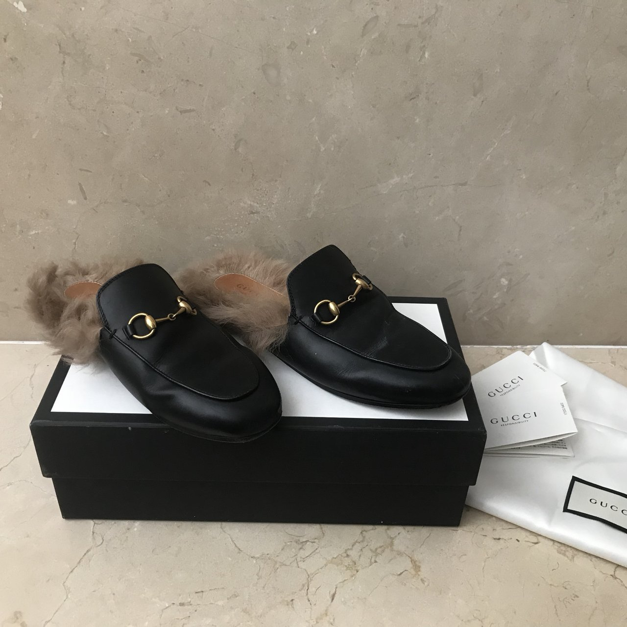 5b9d70d3223e Women s Gucci fur loafers Rare iconic shoes! Beautiful with - Depop