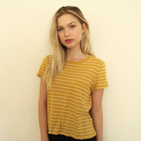 743ca17f @sarahsschultz. last year. Los Angeles, United States. Madewell mustard  yellow striped tee. Cute and cropped ...