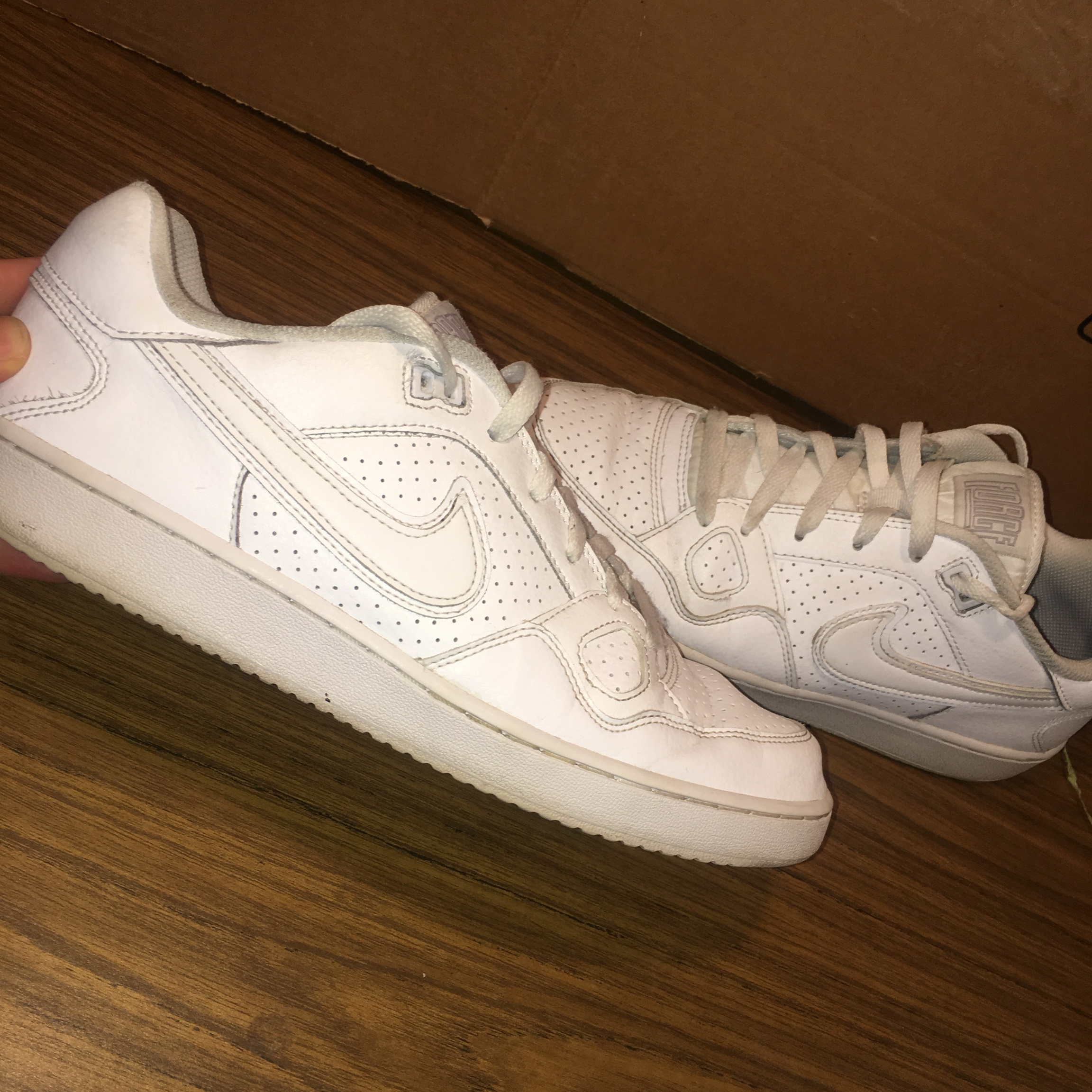 designer fashion 140ef 8ccd5 Nike Low AF1s All White w/laces Condition as shown... - Depop