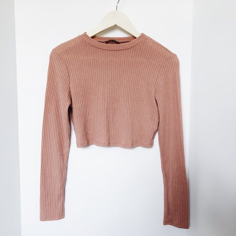 4fc2820393c426 PRICE DROP Mauve   dusty rose ribbed long sleeve crop worn