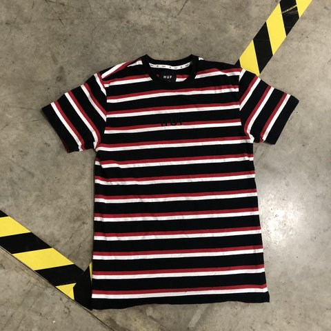 140572e9ab @unluckyjc. 7 months ago. Chicago, United States. New age HUF Black/red/white  striped tee!