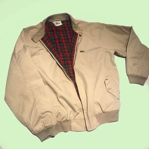 new styles 83ee5 b7aed Vintage Lacoste Harrington jacket - very cool beige   khaki - Depop
