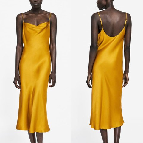 4e80428a260c Zara slinky mustard slip dress - UK S - RRP €39.95, selling - Depop
