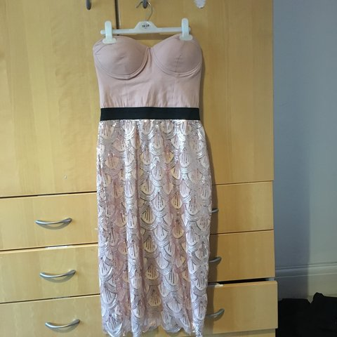 3988bf68b7 Forever 21 strapless sequin midi dress , size 12, worn once - Depop
