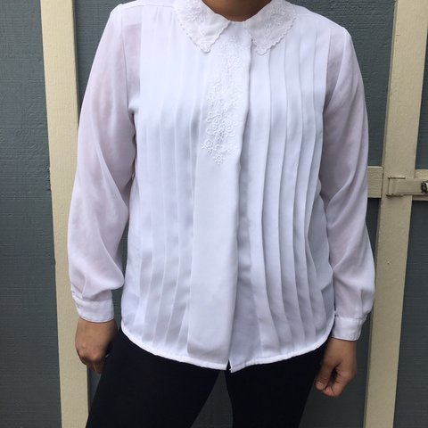 ef351705 @eclecticthrifting. 3 months ago. Fort Wayne, United States. beautiful vintage  white embroidered button-up blouse ...