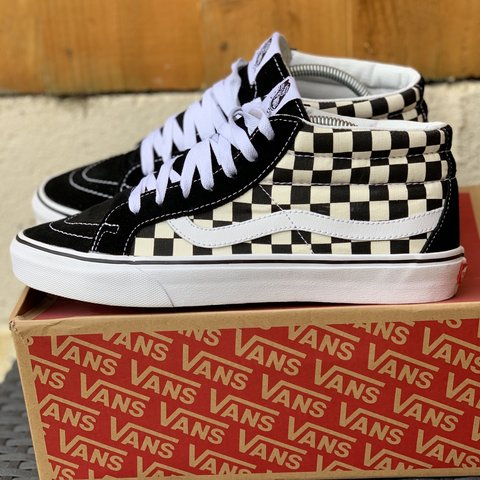 45d60ae46e5acf Vans mid black and white checkerboard Size 8 UK old skool - Depop