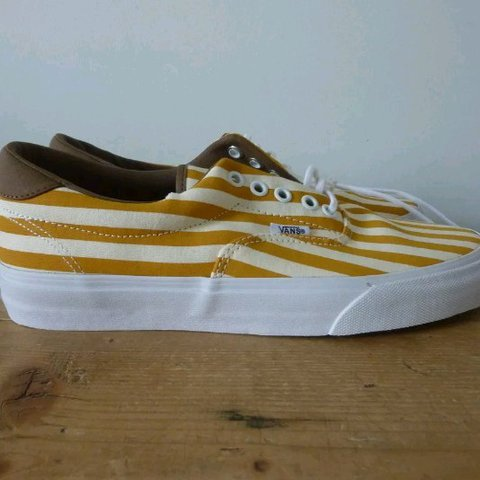 00a373649f Vans ERA 59 yellow stripes UK8 Never worn. New with tags. - Depop