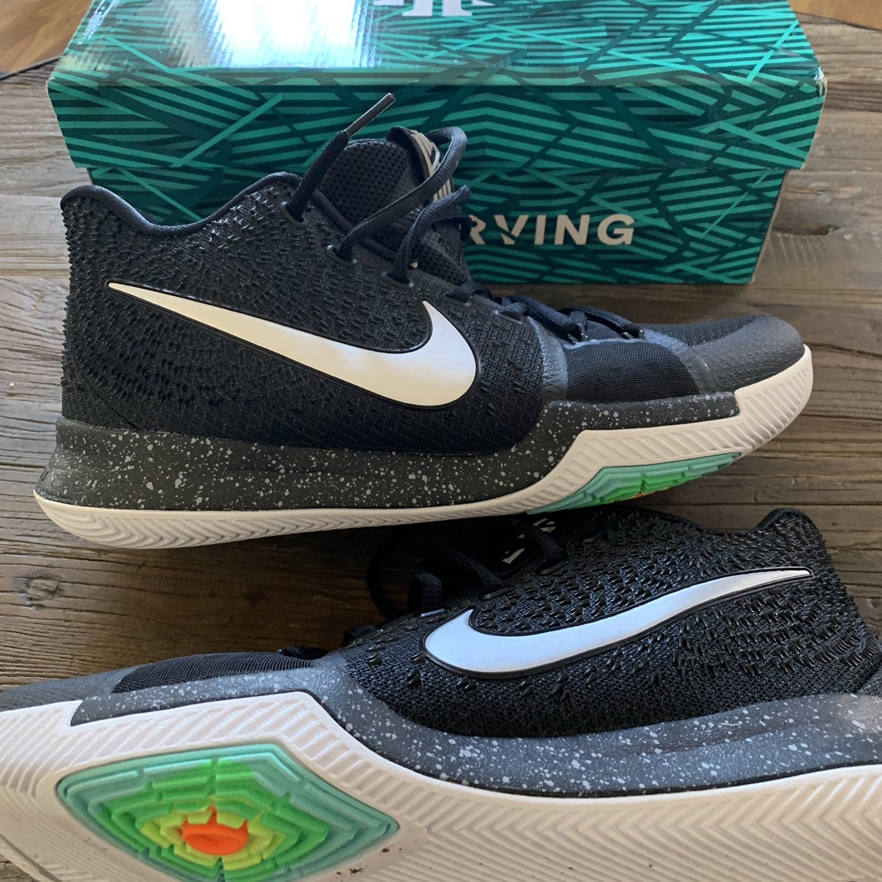 finest selection effb2 d5db7 Nike Kyrie 3 Mens 10.5 Black Ice Only worm on... - Depop