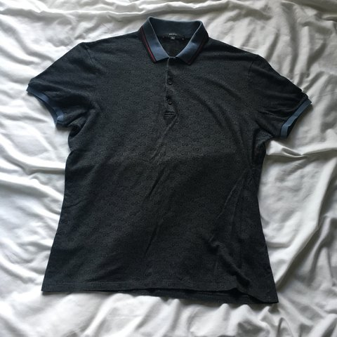 69d15c510 Gucci polo. Grey/ Blue with light blue collar and cuffs. XL - Depop