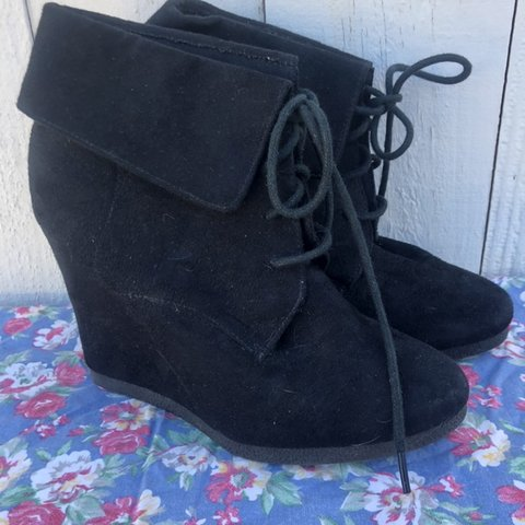 07a771e00bfb Foldover wedge booties from mossimo . Wedge booties . Black - Depop