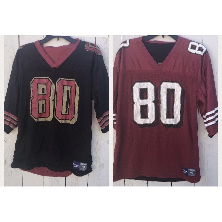 competitive price ba315 6b8bc Jerry Rice Reebok reversible jersey one side black... - Depop