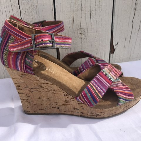 e2090db9cb4 Toms colorful cork wedge sandals in 6.5 w but to be honest a - Depop