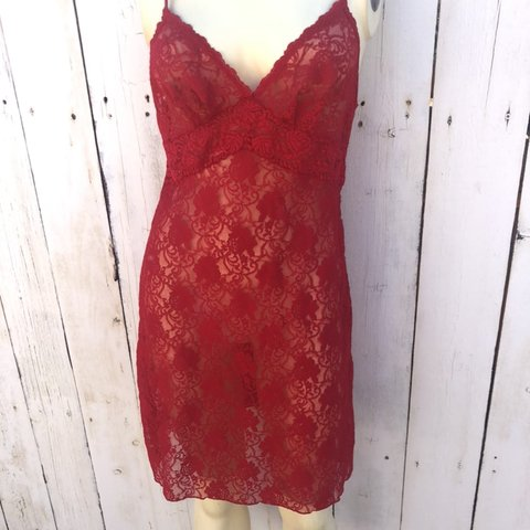6c1b79c35a1 Super sexy red lace slip dress nightie . Medium. I love Racy - Depop