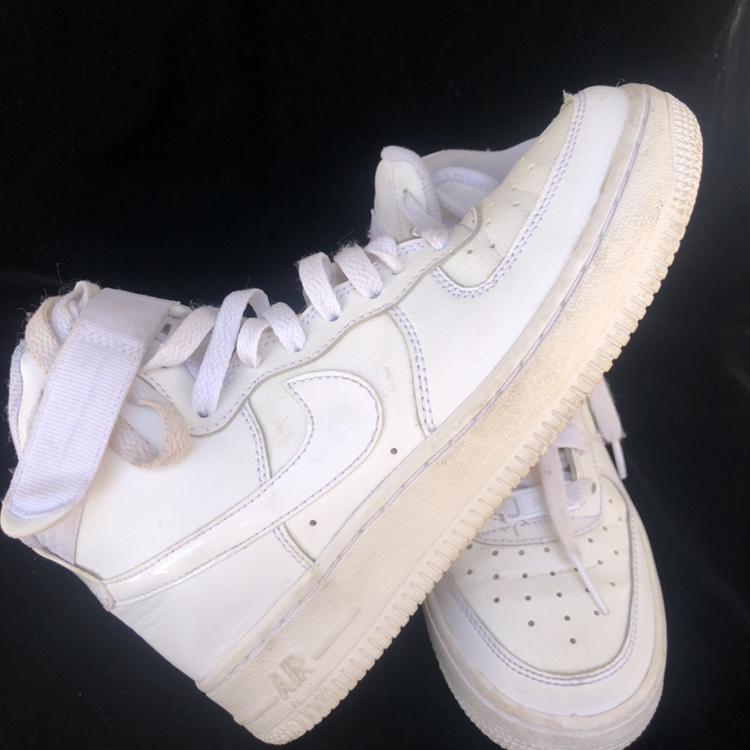 Air Force one white high top Nike shoes size 4 5    - Depop