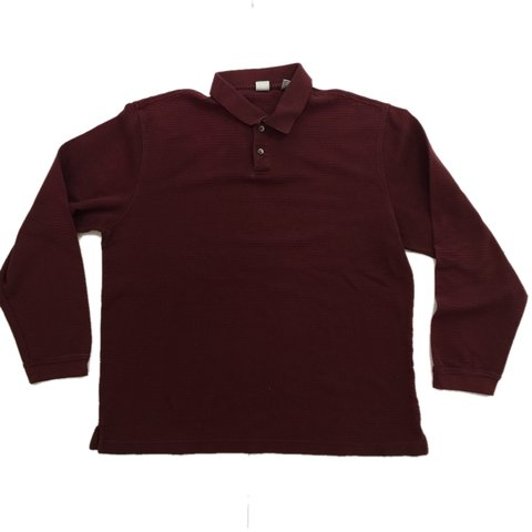 be39be96 90s red long sleeve polo shirt. Wine red color way. Long hip - Depop
