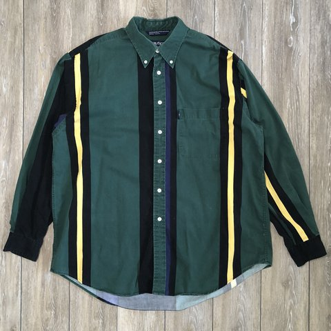 60c4b2ac @midwestgoth. 11 months ago. St. Louis, United States. Vintage Nautica  vertical stripe chambray shirt. Very nice 90s button ...