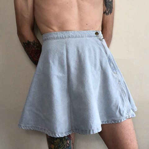 87c25b8e6 American apparel light wash denim circle skirt. Cheeky skirt - Depop