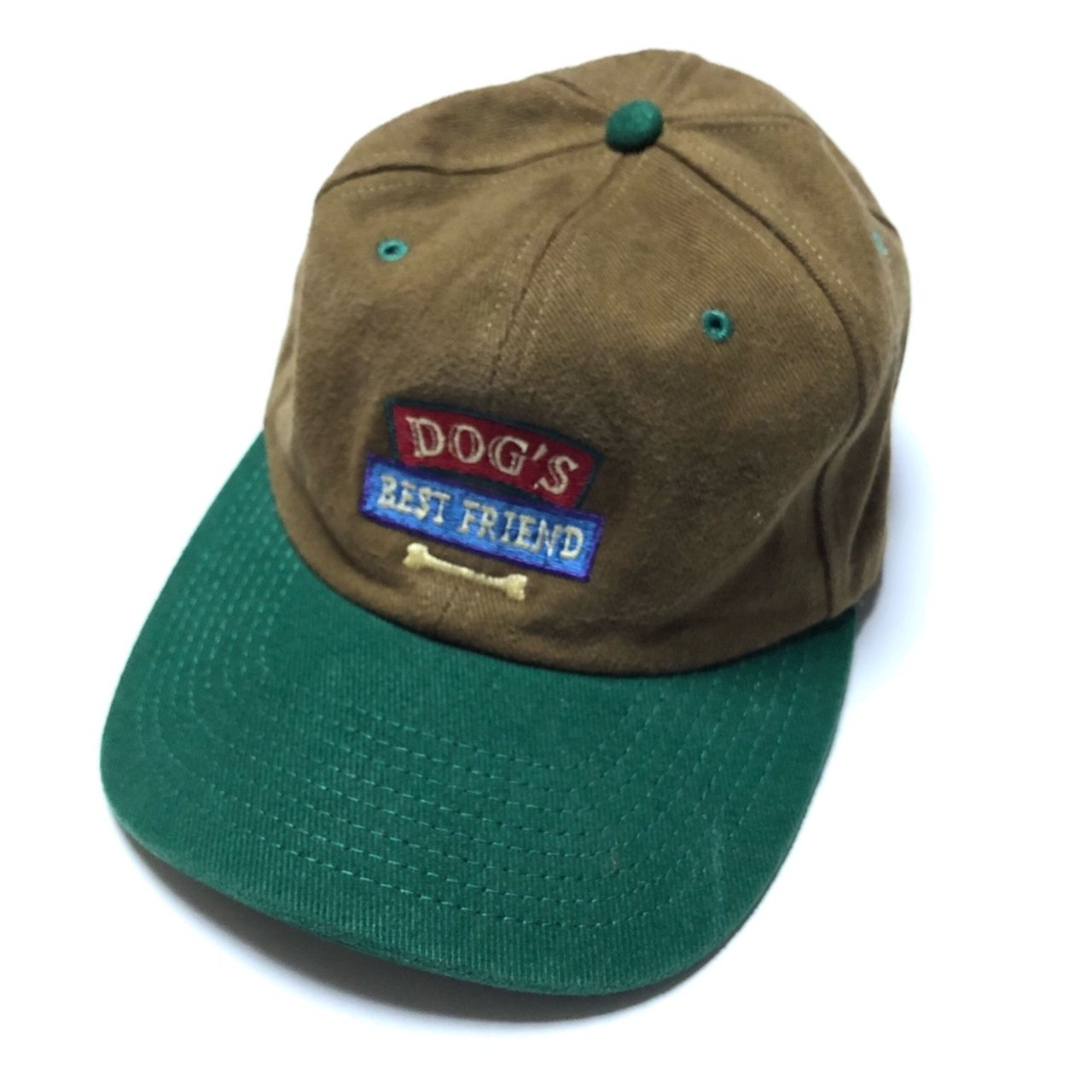 2d6c6b6b37b Brown and green denim dad cap with an embroidered patch that - Depop