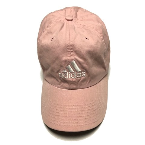 7ab921f9563bb Baby pink Adidas dad cap with white logo embroidery on the - Depop