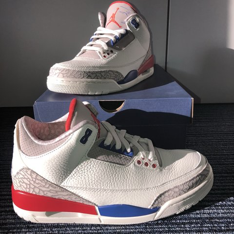 b453485bfe20 SOLD  Air Jordan 3 Retro - SAIL SPORT ROYAL-LIGHT BONE-FIRE - Depop