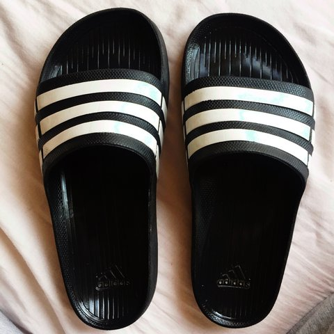 493fcf4c4 Adidas originals sliders. Black and White. Size 6. Worn a me - Depop
