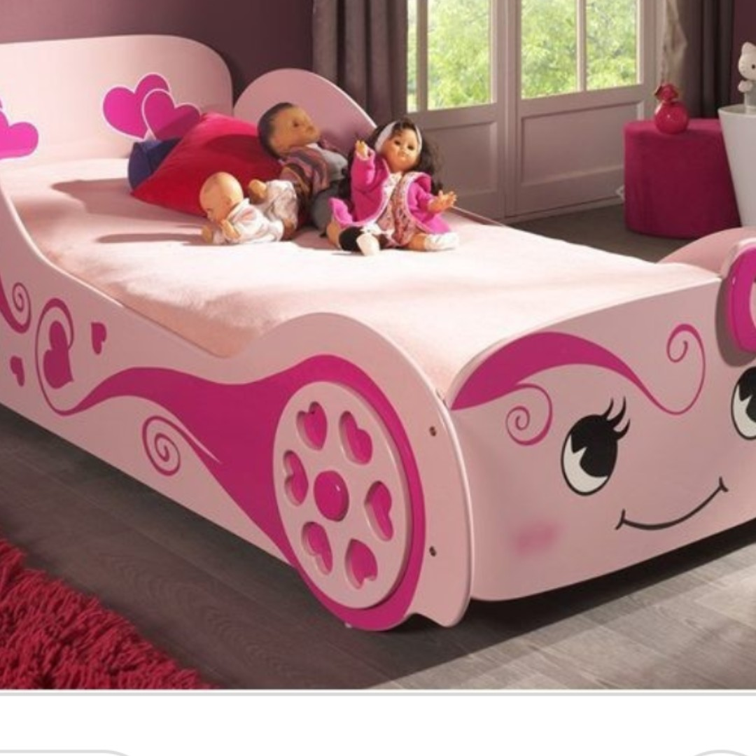 Immaculate Girls Pink Racing Car Bed Comes With A Depop