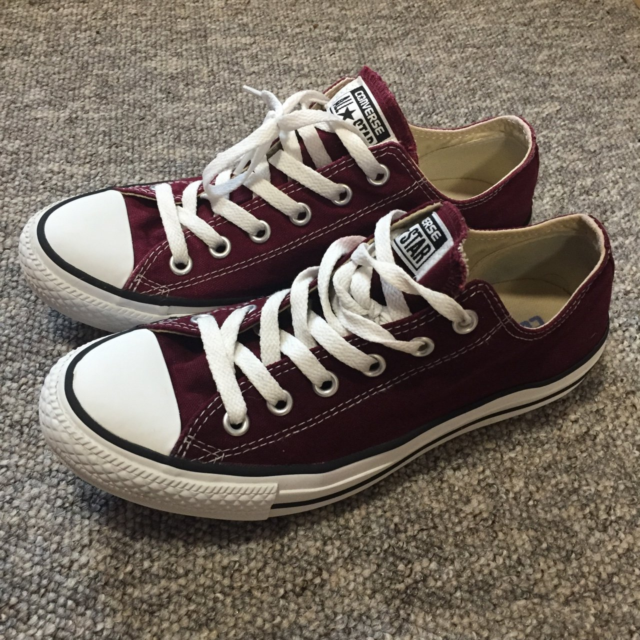 8380cfa78d9 Burgundy red low top Converse size 7. Only bit of wear is on - Depop