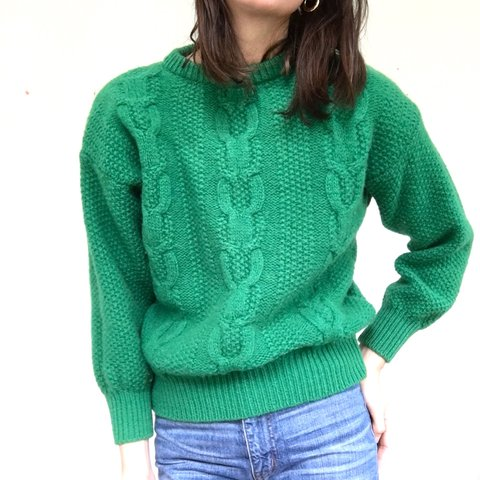 4efba25f6c5 Vintage emerald Benetton Shetland wool sweater. Intricately - Depop