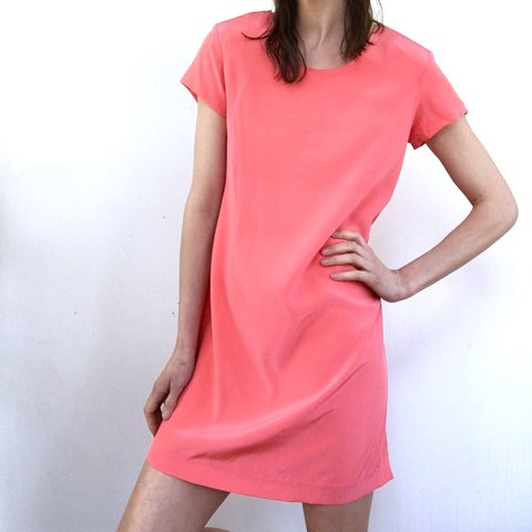 ae8421f1aa7b Vintage coral 100% silk shift dress. Selected for the salmon - Depop