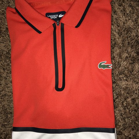 ca2a9ab9 @ijirofficial. last year. Melbourne, United States. Lacoste Ultra Dry Zip  Pique Knit Tennis Polo
