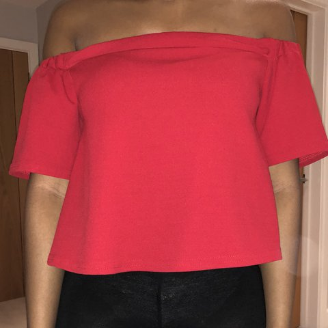 0741fd202240ba Red H M Bardot Off Shoulder Top. Size 8. New Look. Only a - Depop