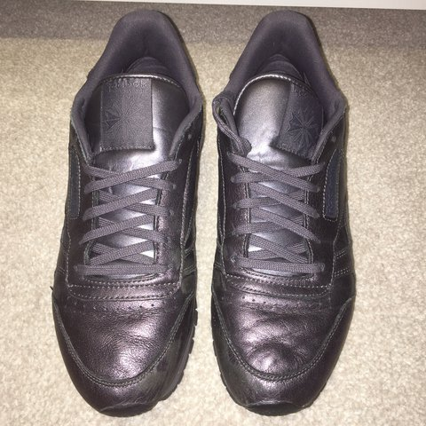 1db99da92 @nataliediana124. last year. Huddersfield, United Kingdom. Black Ashe Grey  Rosette Spirit Reebok Classic Leather trainers. Size 8.
