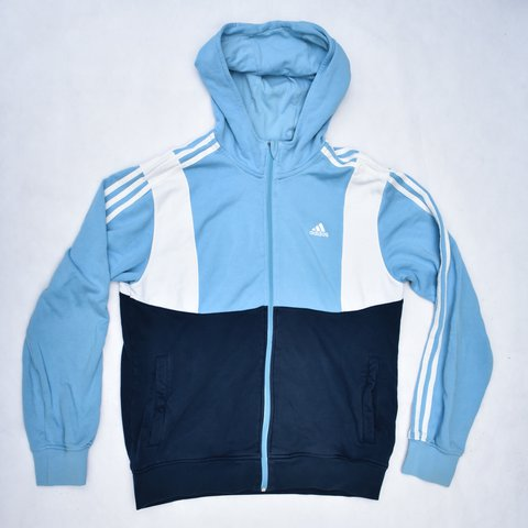 29402c84ce8b Vintage Navy Light Blue Adidas Hoodie  jumper  spellout  up - Depop