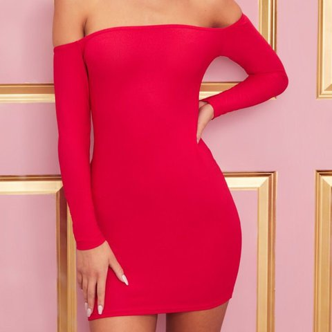 8398ed7e42a Brand new pretrylittlething red Bardot bodycon dress size to - Depop
