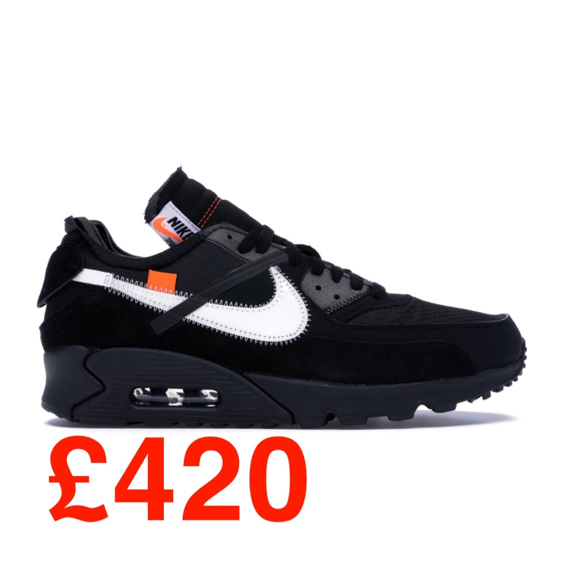 Off White x Nike Air Max 90 Black Size U.K. Depop