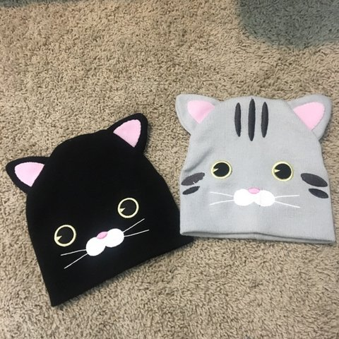 05481d38 Grey and black cat beanies!!! 😸 great condition Sold but a - Depop