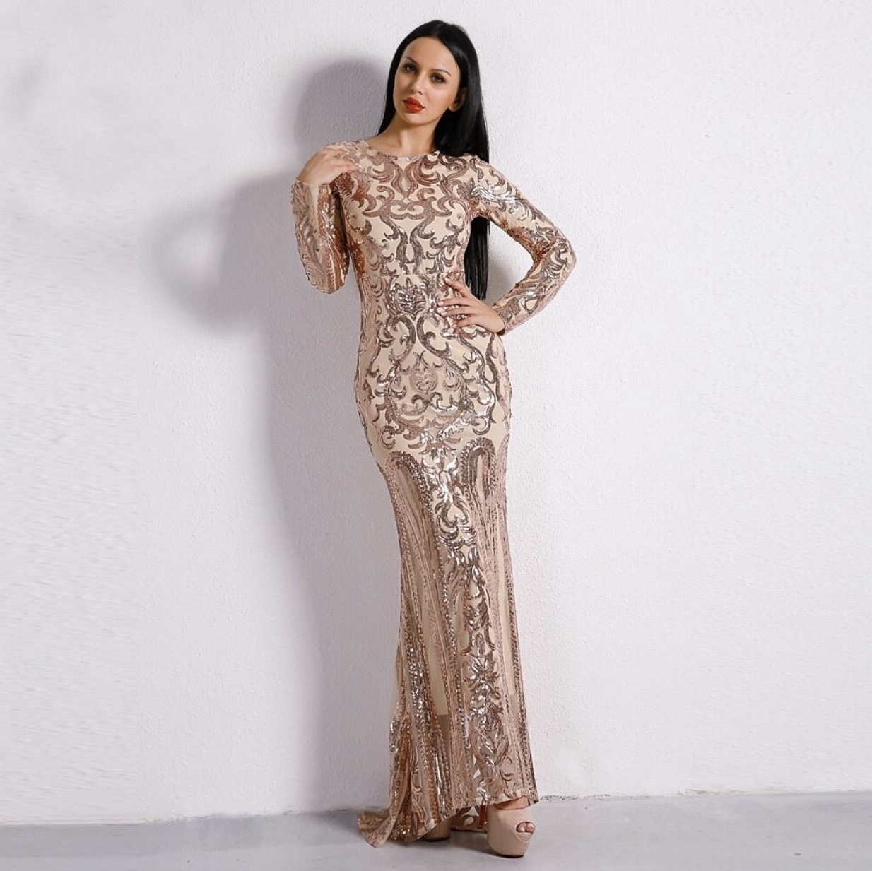 rose+gold+maxi+dress+with+sleeves