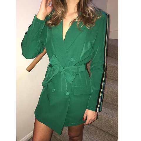 c814cc22 Selling my beautiful emerald green striped side blazer from - Depop