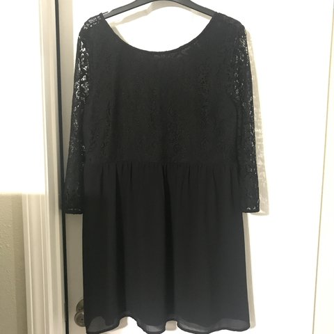 Forever 21 Black Dress Lace And Silk Long Sleeves See Back Depop